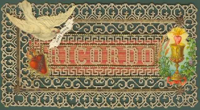 COMPOSIZIONE IN CARTA databile alla fine del 1800 recante auguri di buone feste.