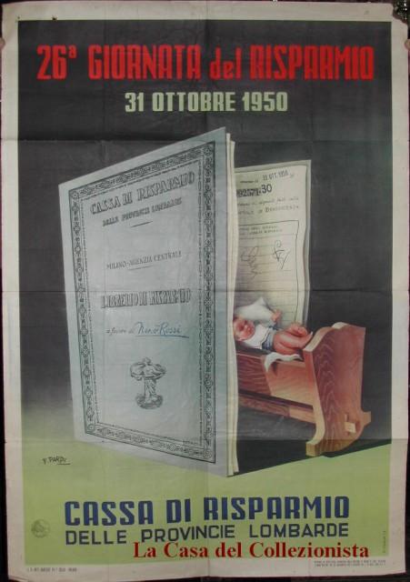 MANIFESTO disegnato a colori da Pardi per la Cassa di Risparmio delle Provincie Lombarde