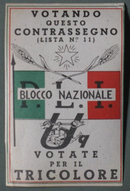 Etichetta adesiva di propaganda del Blocco Nazionale