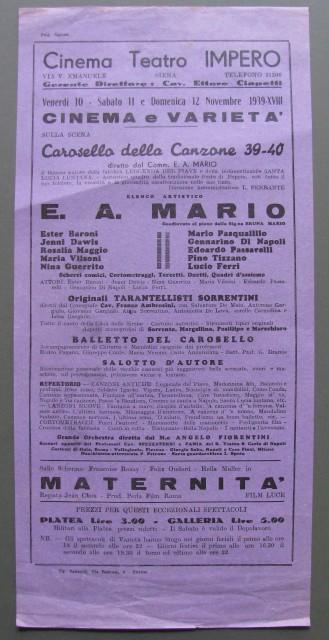 Teatro - Siena. Locandina del 1939.