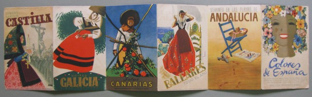 SPAGNA. PUBBLICITA'. Pieghevole databile all'inizio degli anni '50 Colores de Espana riproducente alcuni manifesti di Teodoro Delgado