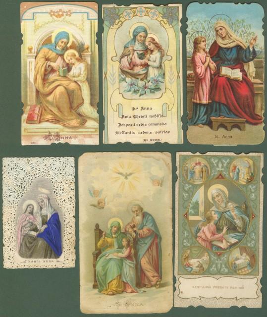 S. ANNA. 6 santini (holycards). Fine '800, inizio '900.