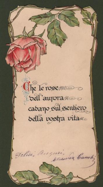 Cartoncino augurale policromo con impressioni a rilievo.