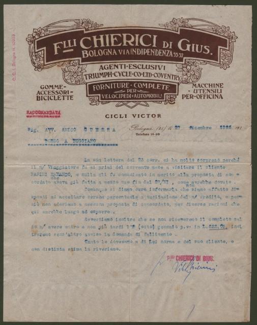 BOLOGNA. Vecchia fattura (anno 1926). F.lli Chierici - Forniture complte per velocipedi e Automobili.