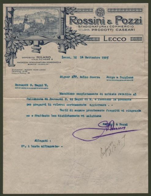 LECCO. Vecchia lettera (anno 1925) con bella intestazione incisa della ditta ROSSINI & POZZI PRODOTTI CASEARI.