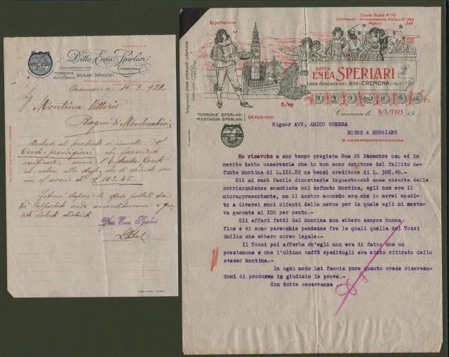 CREMONA. 2 vecchie lettere (anni 1922 e 1923) con intestazione TORRONE SPERLARI.
