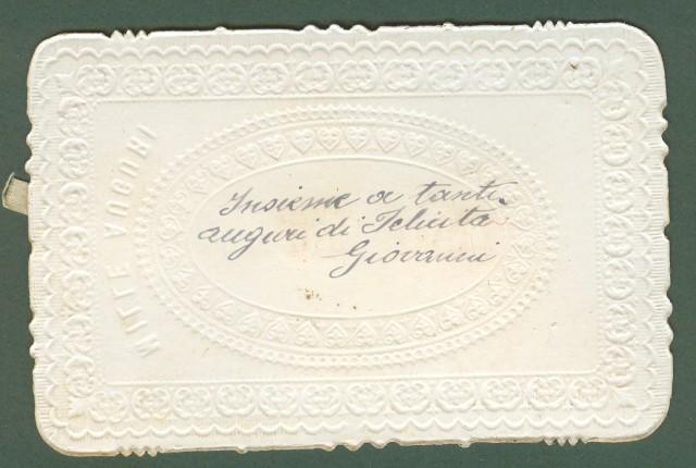 BIGLIETTO AUGURALE con applicata composizione di carta che si apre tirando la linguetta alla base. Inizio 1900,