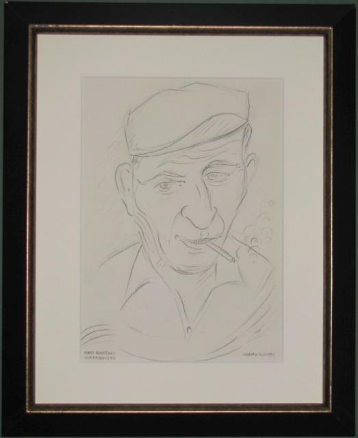 BONETTI UBERTO (Viareggio 1909 '– Viareggio 1993). - COPPI '– BARTALI. Coppia di disegni a matita (cm 20,5x29 ciascuno) raffiguranti Gino Bartali e Fausto Coppi.
