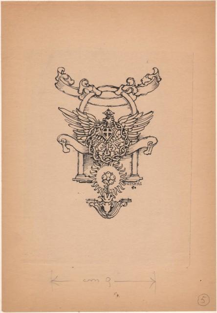 CISARI GIULIO (Como 1892 '– Milano 1979). BOZZETTO disegnato a china raffigurante un''aquila coronata e motivi decorativi.