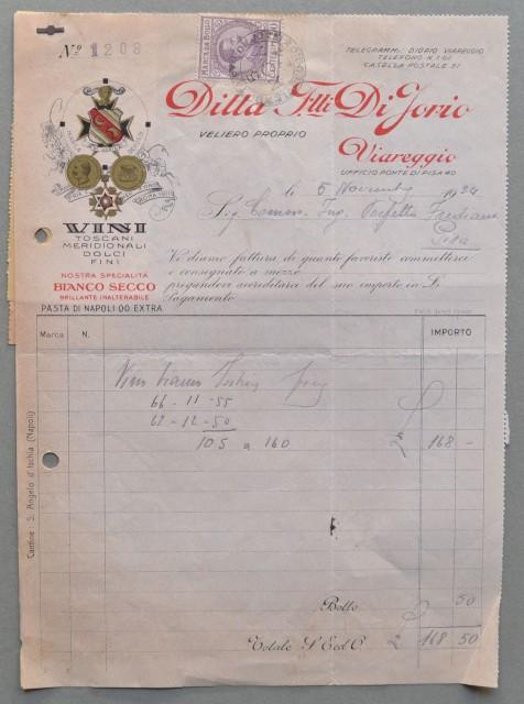 VIAREGGIO (Lucca). Vecchia fattura (anno 1924). VINI F.LLI DI IORIO.