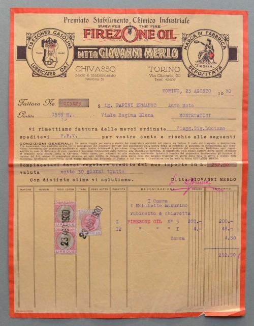 CHIVASSO (Torino). Vecchia fattura (anno 1930). STABILIMENTO CHIMICO GIOVANNI MERLO.