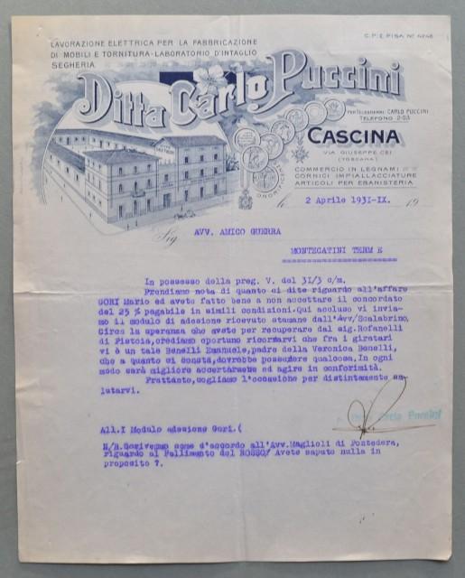 CASCINA (Pisa). Vecchia fattura (anno 1931). MOBILIFICIO CARLO PUCCINI.