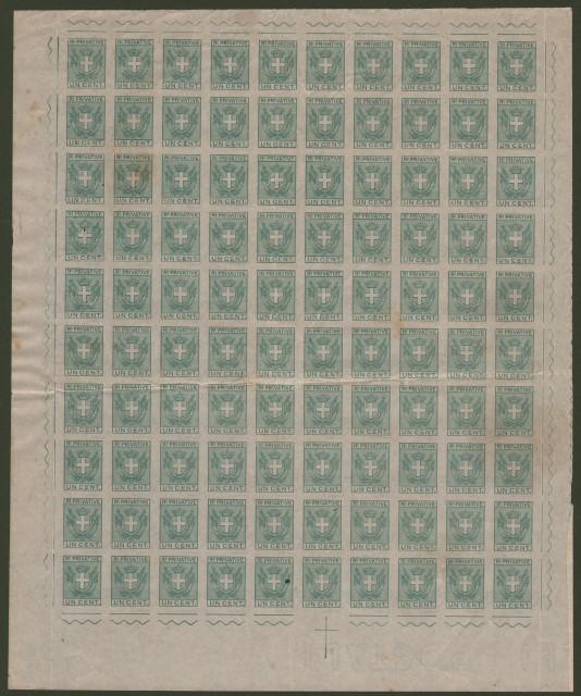 Marche da bollo. MARCHE PER FIAMMIFERI. Anno 1917. Foglio di 100 esemplari del cent. 1 verde.