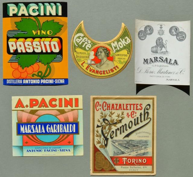 VINI - LIQUORI. 5 etichette per bottiglie. Anni venti - trenta.