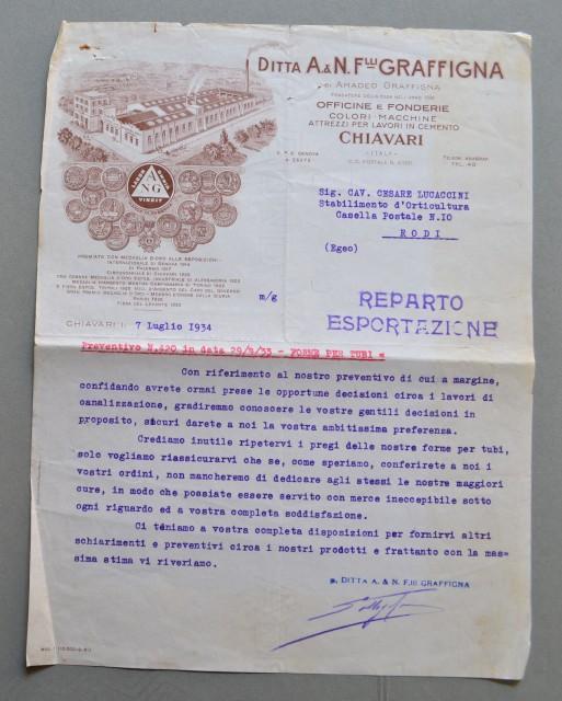 CHIAVARI (Genova). Vecchia fattura, anno 1934. OFFICINA FONDERIA F.LLI GRAFFIGNA