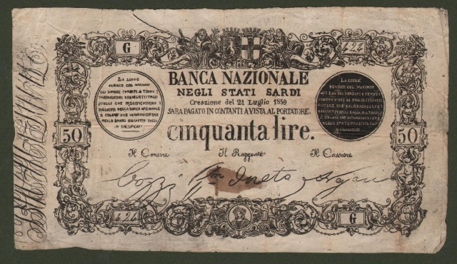 Carta moneta - Numismatica - Banconota. BANCA NAZIONALE DEGLI STATI SARDI. Biglietto da 50 lire emesso il 21 luglio 1859.