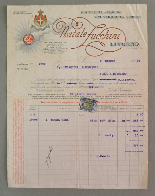 Toscana. LIVORNO. Vecchia fattura (anno 1924). LIQUORI, VINI, VERMOUTH NATALE ZUCCHINI.