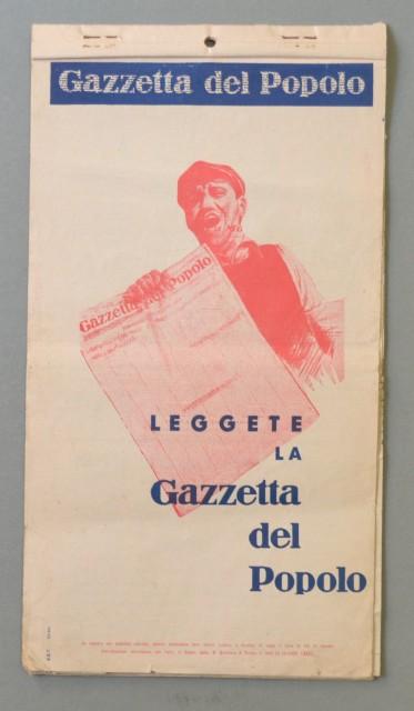 CALENDARIO per l'anno 1936 pubblicitario della Gazzetta del Popolo.