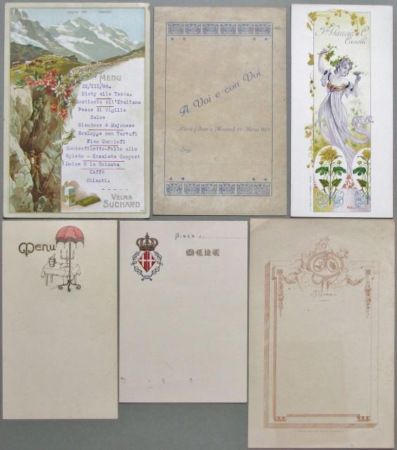 MENU'. Insieme di 6 pezzi di vario formato databili ai primi anni del '900.