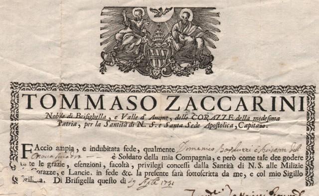 Ravenna. FEDE di appartenenza alla Compagnia delle Corazze. Documento a stampa, firmato, munito di bel sigillo cartaceo con  stemma a rilievo e datato 19 aprile 1731 in Brisighella.