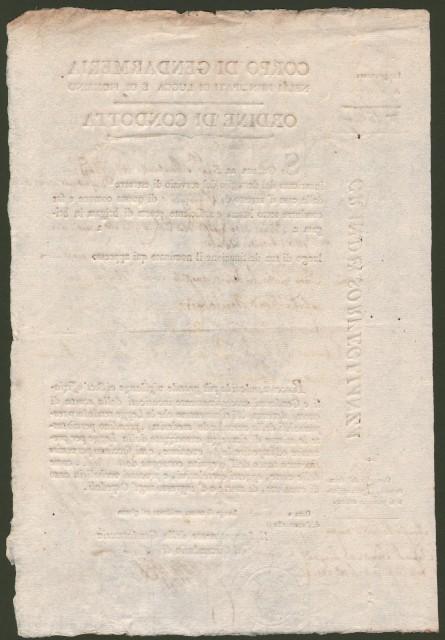 POLIZIA - ORDINE DI CONDOTTA. Documento a stampa e completato a mano del 22 luglio 1813 col quale si ordine il trasferimento di un detenuto dal carcere di Lucca a Pescia
