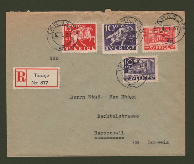 SVERIGE. 1937. Registered letter for Schweiz.