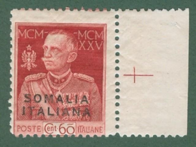 Colonie. SOMALIA ITALIANA. Anno 1925. Giubileo del Re. Valore da cent. 60 carminio dentellato 11 (catalogo Sassone n. 67).