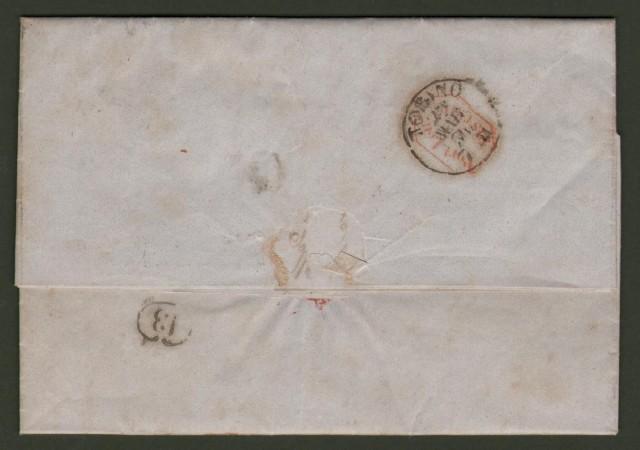 Antichi Stati. SARDEGNA. Lettera del 28 marzo 1854 da Vercelli a Torino.