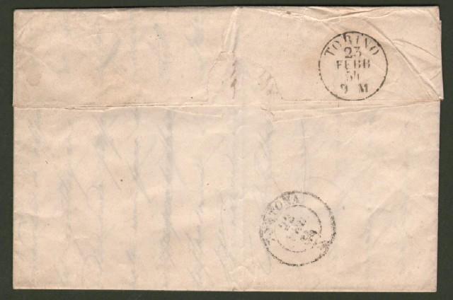 Antichi Stati. SARDEGNA. Lettera del 22 febbraio 1854 da Sales (Alessandria) per Torino.