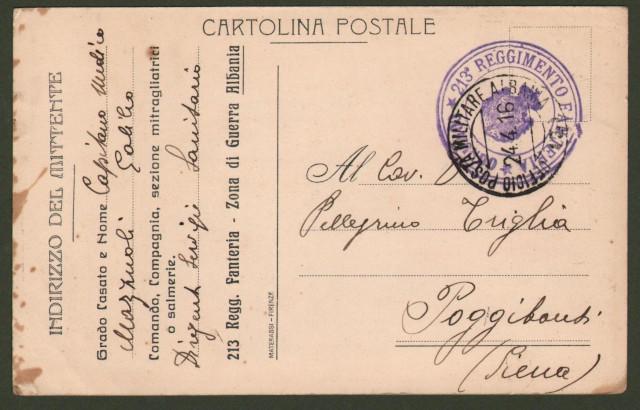 Regno. FRANCHIGIA MILITARE I'° GUERRA. 213'° Reggimento Fanteria. Dall'ufficio posta militare Albania n. 3 il 24 aprile 1916.