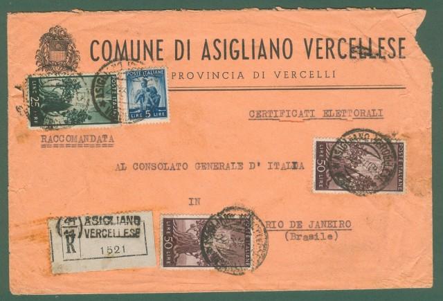 RACCOMANDATA per il Brasile del 22.3.1948.