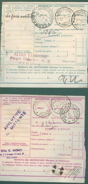 DUE BOLLETTINI DI SPEDIZIONE usati nel 1952 da lire 40 e lire 100.