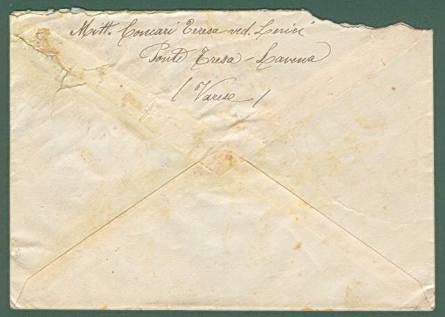 Storia Postale Repubblica Sociale. ESPRESSO DEL 15.03.1944 da Lavena Ponte Tresa (Varese) a S. Giovanni Valdarno (Firenze).