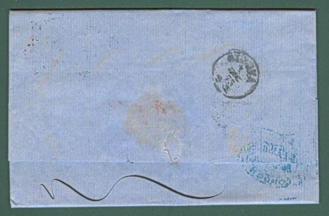 Storia postale Estero. GRAN BRETAGNA. Lettera del 1873 da Londra a Genova, affrancata con 6 p. grigio oliva