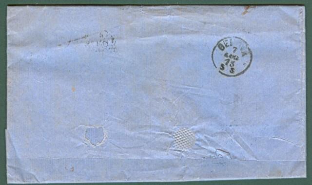 Storia postale Estero. GRAN BRETAGNA. Lettera del 1875 da Londra a Genova. Affrancata con due pezzi del 4 p. arancio