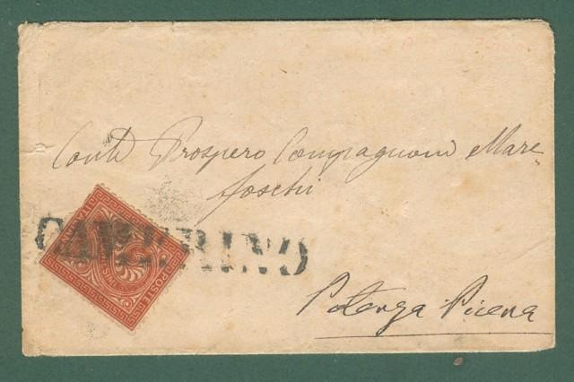 Storia postale Regno. CAMERINO in stampatello annullatore di cent. 2 rosso bruno su bustina per Potenza Picena.