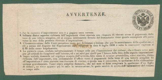 Antichi Stati - LOMBARDO VENETO. RICEVUTA D'IMPOSTAZIONE. Montagnana, 1860.