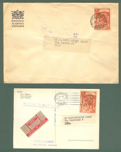 VATICANO. Una busta + una cartolina commerciale del 1949 e 1952.