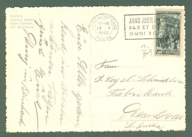 VATICANO. Lire 35 verde serie Guardia Palatina isolato su cartolina per la Svizzera del 1950. Firma Biondi.