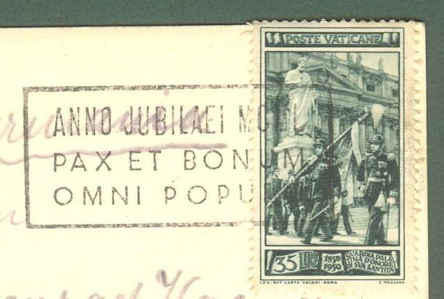 VATICANO. Lire 35 verde serie Guardia Palatina isolato su cartolina per la Svizzera del 1950.