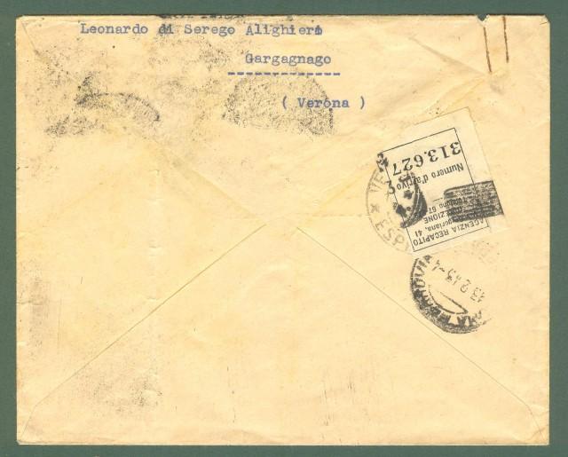 Storia postale Regno. Posta aerea per l'interno. Lettera del 12.02.1943 da Verona a Roma.