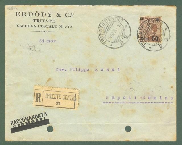 Storia postale Regno. Raccomandata del 06.08.1924 affrancata al recto e al retro.
