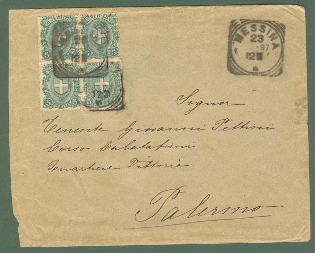 Storia postale Regno. Quartina cent.5 verde (Sassone 67) su lettera del 23.10.1897.