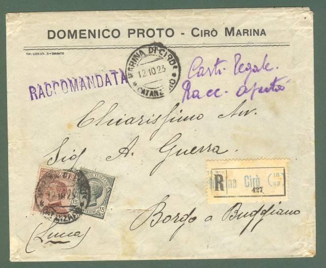 Storia postale Regno. Raccomandata del 12.10.1923 affrancata con cent. 15 Leoni + cent. 85 rosso bruno Michetti.