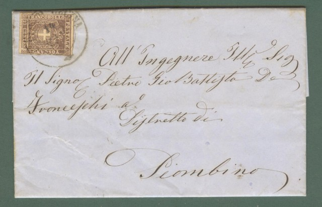 Storia postale Antichi Stati. TOSCANA. FITTO DI CECINA. Lettera, completa del testo, da Montescudaio (Pisa) a Piombino.