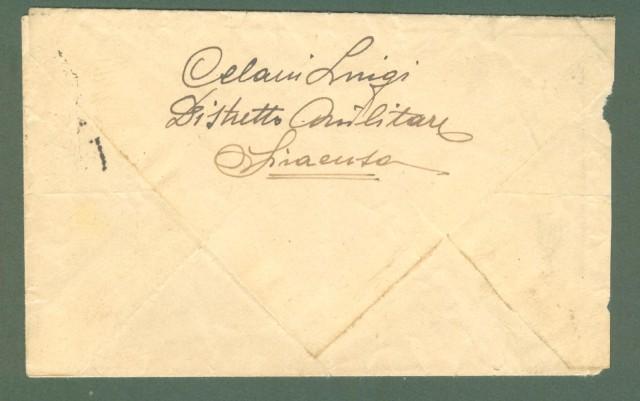 Storia postale ITALIA LUOGOTENENZA. Letterina del 1945 (non si legge la data) da Siracusa a Militello (Ct).