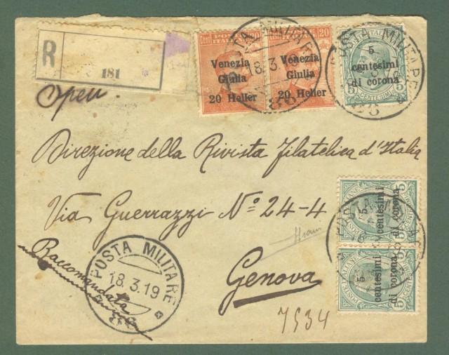 Storia postale Colonie. VENEZIA GIULIA. Raccomandata dalla POSTA MILITARE 86 a Genova il 18.03.1919.  Firma Sorani.