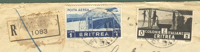 Storia postale Colonie. ERITREA. Lettera raccomandata da DESSIE' a Roma.