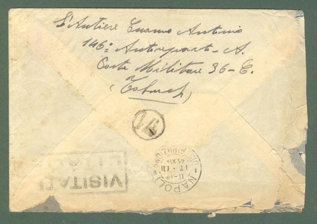 Storia postale Regno. SECONDA GUERRA. POSTA MILITARE N. 36 su lettera del 10.01.1941 per Napoli.