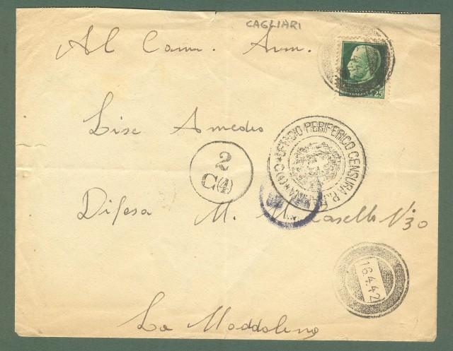 Storia postale Regno. SECONDA GUERRA. Lettera del 16.04.1942 da Cagliari a La Maddalena.